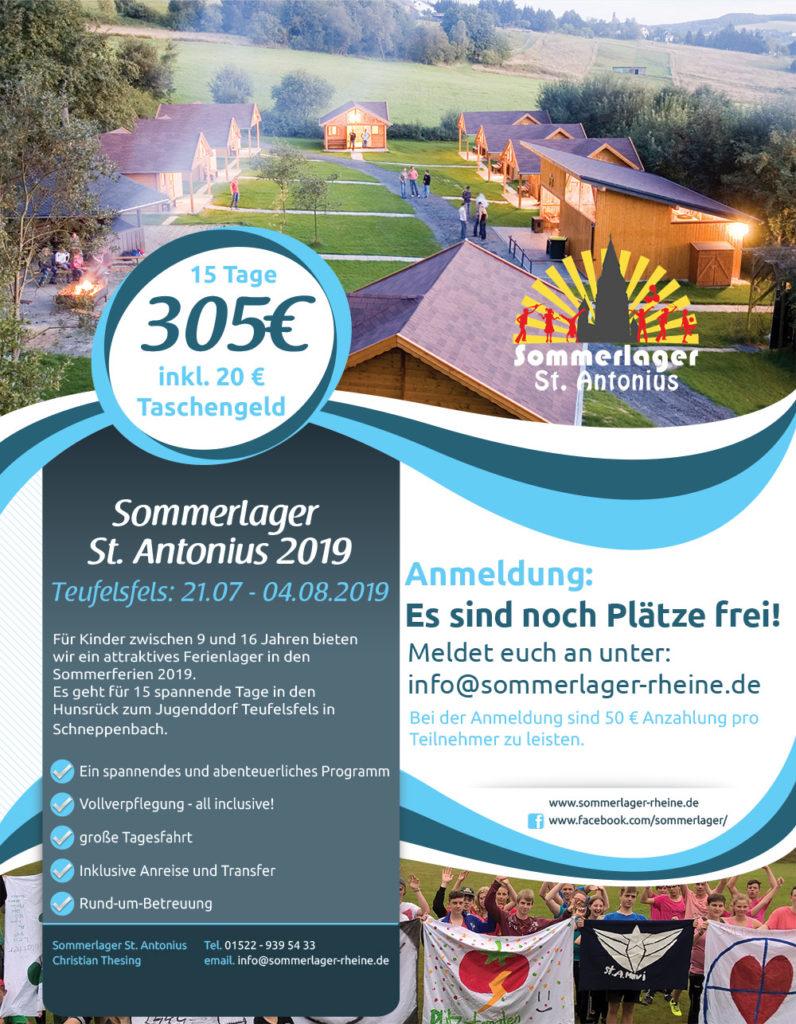 Sommerlager Rheine - St Antonius 2019 Flyer